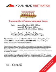 IHFN Mi'kmaw Language Camp @ Friendship Centre - St. George's